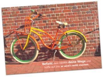 Christliches Poster A2: Grellbuntes Fahrrad