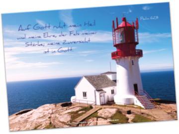 Christliches Poster A2: Leuchtturm auf Felsen
