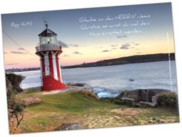 Christliches Poster A2: Rot-weißer Leuchtturm