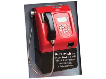 Christliches Poster A2: Roter Münzfernsprecher