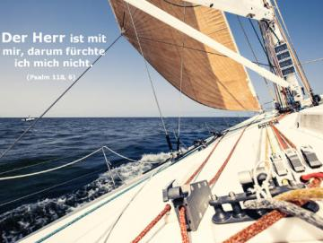 Christliches Poster A2: Segelyacht in voller Fahrt