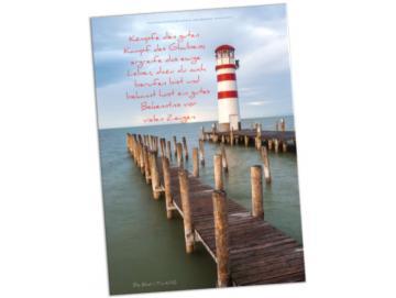 Christliches Poster A2: Leuchtttum und Holzstege