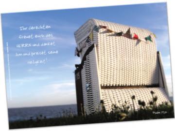 Christliches Poster A2: Weißer Strandkorb