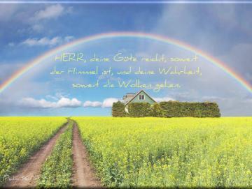 Christlicher Leinwanddruck: Regenbogen über Rapsfeld - Landschaftsmotiv