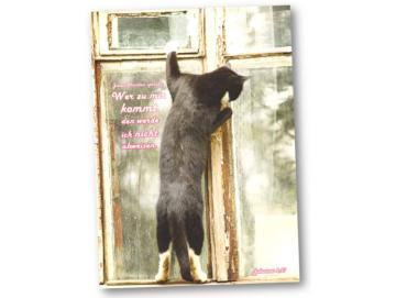 Faltkarte Jahreslosung 2022: Am Fenster stehende Katze