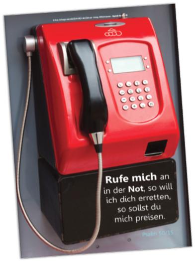 Christlicher Kühlschrankmagnet - Roter Münzfernsprecher