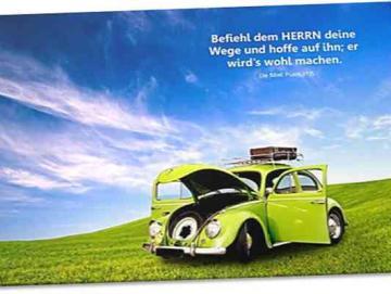 Christlicher Leinwanddruck: Grüner VW-Käfer