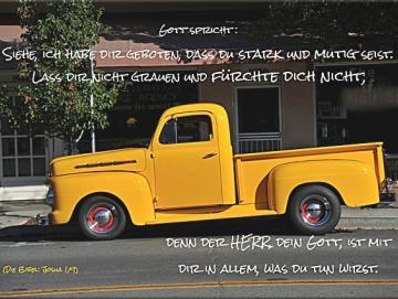 Leinwanddruck: Gelber Pickup-Oldtimer