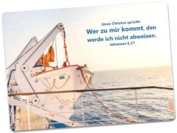Postkarte Jahreslosung 2022: Startbereites Rettungsboot