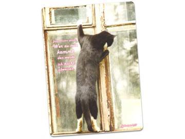 Postkarte Jahreslosung 2022: Am Fenster stehende Katze